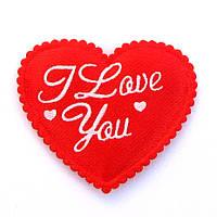 Сердце 4*4,5 см (материал атлас) цвет красный