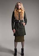 Женская дубленка с натуральным мехом лисы, рр 42