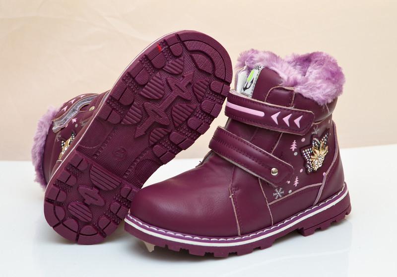 Модные сапоги на зиму для девочки фиолетовые