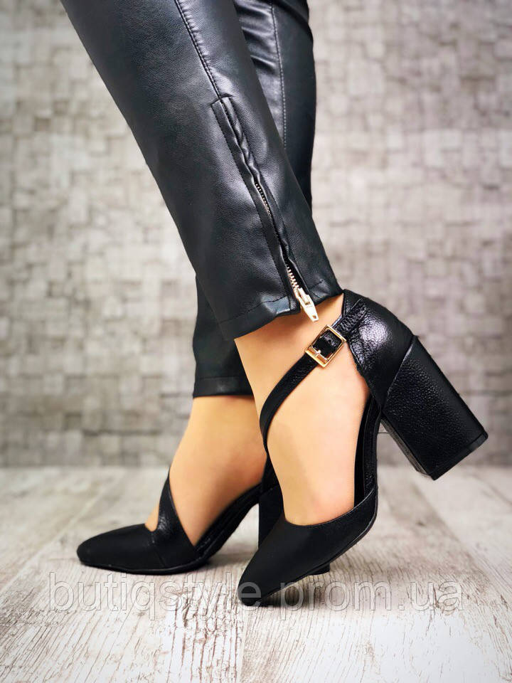 Классические женские туфли Margarite на каблуке, натуральная черная кожа элит флотар