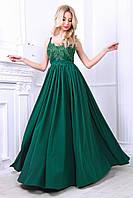 Женское вечернее платье в пол, верх гипюр низ шелк