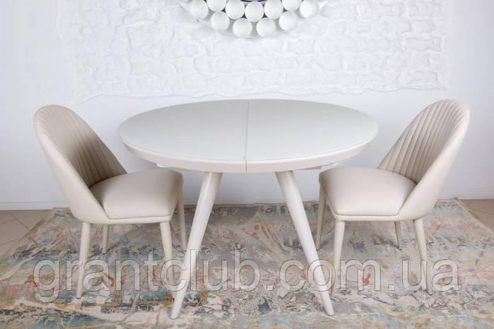 Круглый обеденный стол AUSTIN (Остин) 110/145 матовое стекло капучино Nicolas (бесплатная адресная доставка)