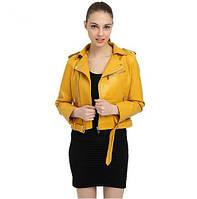 Жіноча куртка-косуха з екошкіри жовта