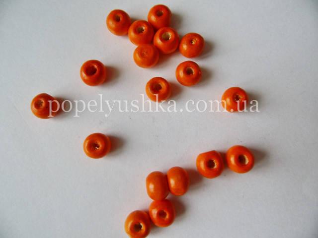 Намистини кульки дерев'яні Оранжеві 8 мм (20 шт.)