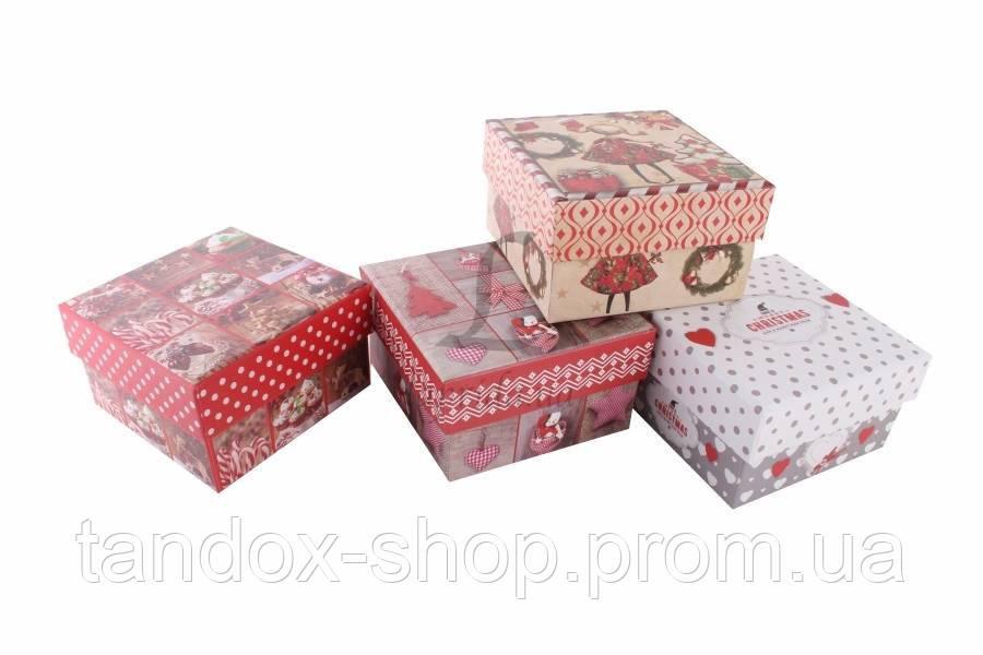 Подарочная коробка новогодняя (микс 4 в 1,квадратные)
