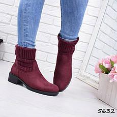 """Ботинки, ботильоны бордовые """"Melex"""" эко замша, повседневная, демисезонная, осенняя, женская обувь, фото 2"""