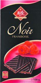Шоколад черный с малиной  Katy Noir Framboise 64% какао  100г Франция