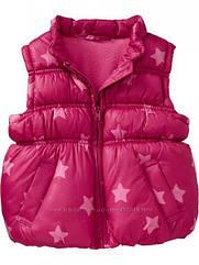 Стильная теплая розовая жилетка со звездами на флисе (Размер 5Т) Old Navy (США)