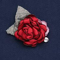 """Брошь с цветком """"Роза красная"""" из ткани d-6см"""