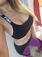 Спортивный короткий черный топик PINK, фото 1
