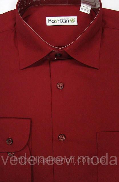 Бордовая мужская классическая рубашка