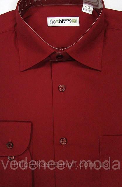 Мужская классическая рубашка бордовая