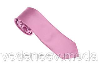Розовый однотонный галстук