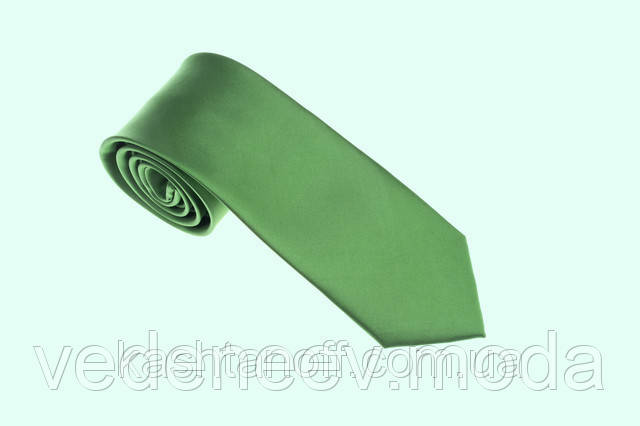 Салатовый однотонный галстук