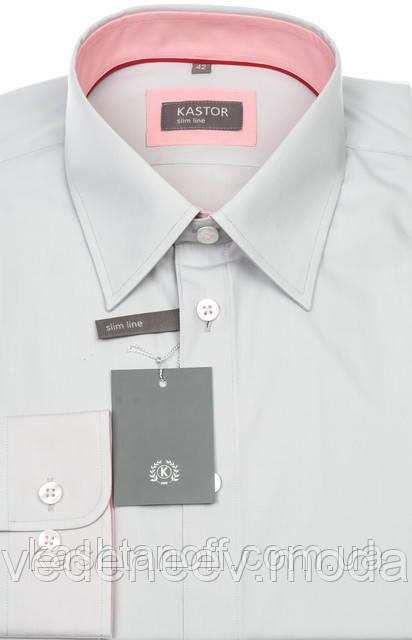 Светло-серая рубашка приталенная
