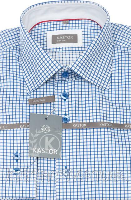 Приталенная рубашка в синюю клетку 100% хлопок