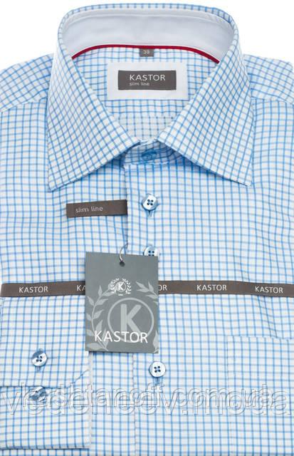 Приталенная рубашка в голубую клетку 100% хлопок