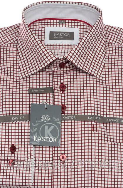 Приталенная рубашка в бордовую клетку 100% хлопок