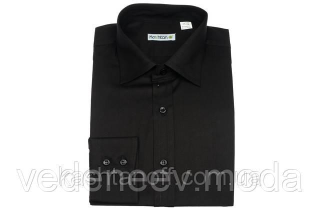 Чёрная приталенная рубашка
