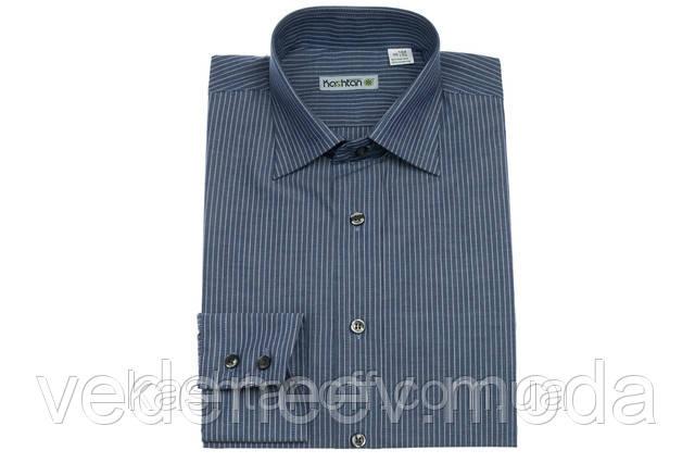 Синяя приталенная рубашка в полоску