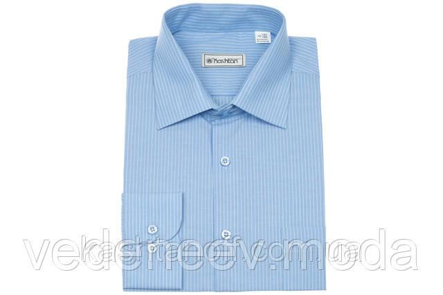 Классическая голубая мужская рубашка в полоску