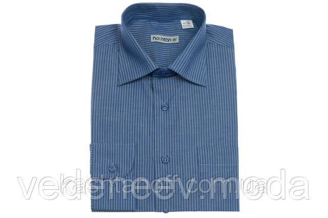 Классическая рубашка мужская синяя в полоску