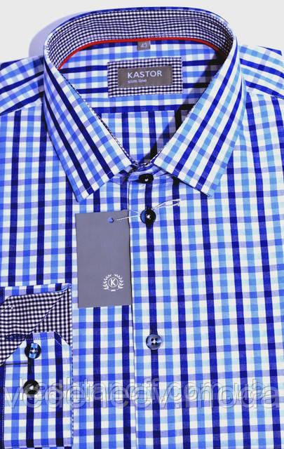 Приталенная рубашка в сине-голубую клетку