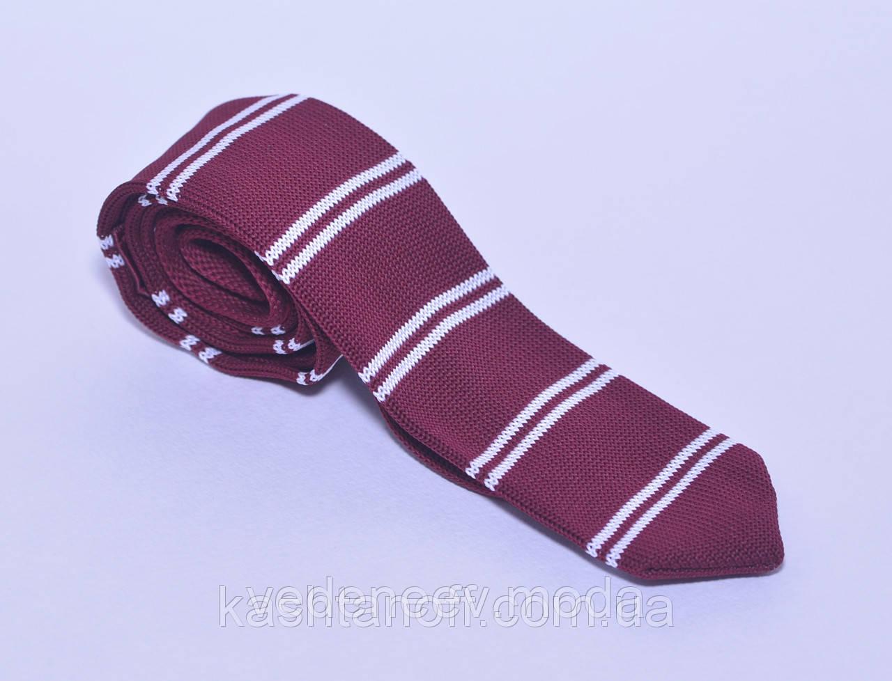 Бордовый вязанный галстук