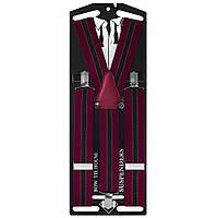 Подтяжки Bow Tie House длинные галстучные красные в полоску 10059L