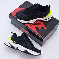 Кроссовки женские кожаные Nike M2 Tekno Black&Lime Green (  копия )