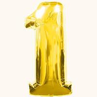 """Воздушные шары оптом. Шар фольгированный золотой, цифра """"1"""""""