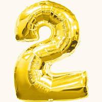 """Воздушные шары оптом. Шар фольгированный золотой, цифра """"2"""""""