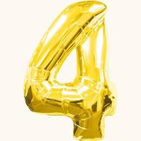 """Воздушные шары оптом. Шар фольгированный золотой, цифра """"4"""""""