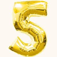 """Воздушные шарики оптом. Шарик золотой фольгированный, цифра """"5"""""""