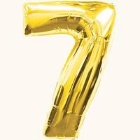"""Воздушные шарики оптом. Шарик фольгированный золотой, цифра  """"7"""""""