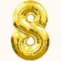 """Воздушные шары оптом. Шар фольгированный золотой, цифра """"8"""""""