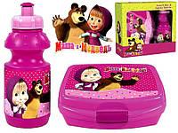 """Набор """"Маша и медведь"""" в коробке.  Бутылка и Ланч бокс (ланчбокс)"""