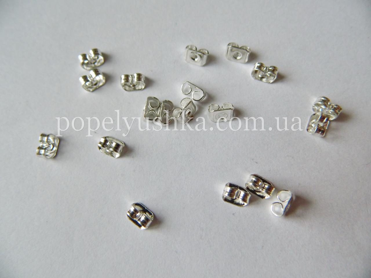 Заглушки до сережок-цвяшків штампові 5*3.5 мм. Срібло
