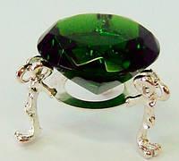 Кристалл хрустальный на подставке зеленый (4 см)
