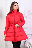 Модное зимнее стеганое пальто клеш с пояском в комплекте