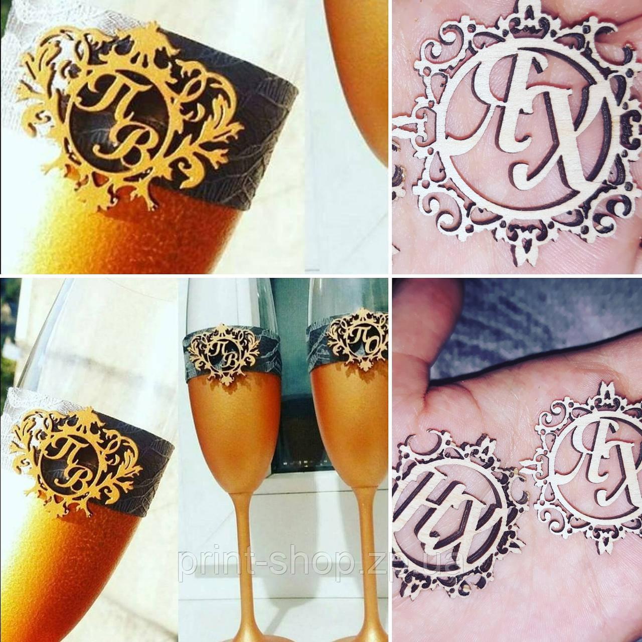 Монограмма герб для свадебных бокалов.