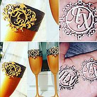 Монограмма герб для свадебных бокалов., фото 1