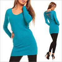 Голубая туника - платье с V - образным вырезом.