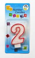 """Свічка цифра тортовая """"2"""" з окантовкою"""