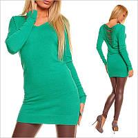 Зеленая туника - платье с V-образным вырезом