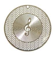 Металл. пластина Скрипичный ключ  диам. 4,6  см (2 шт)