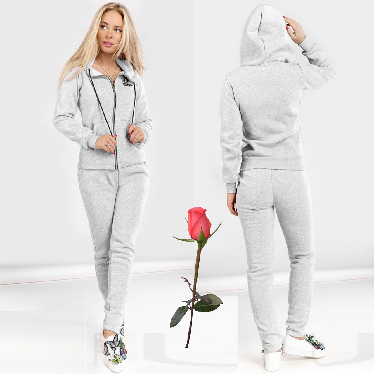 Женский зимний спортивный костюм на флисе  Gr 23757  Светло-Серый
