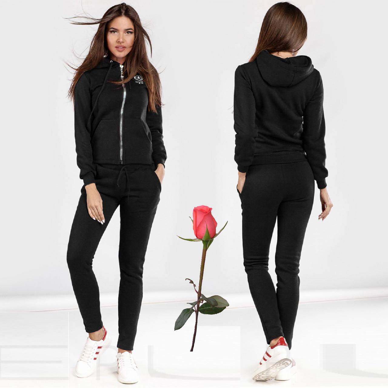 Женский зимний спортивный костюм на флисе  Gr 23757  Черный