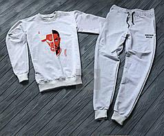 Спортивный костюм без молнии Chicago Bulls серый топ реплика