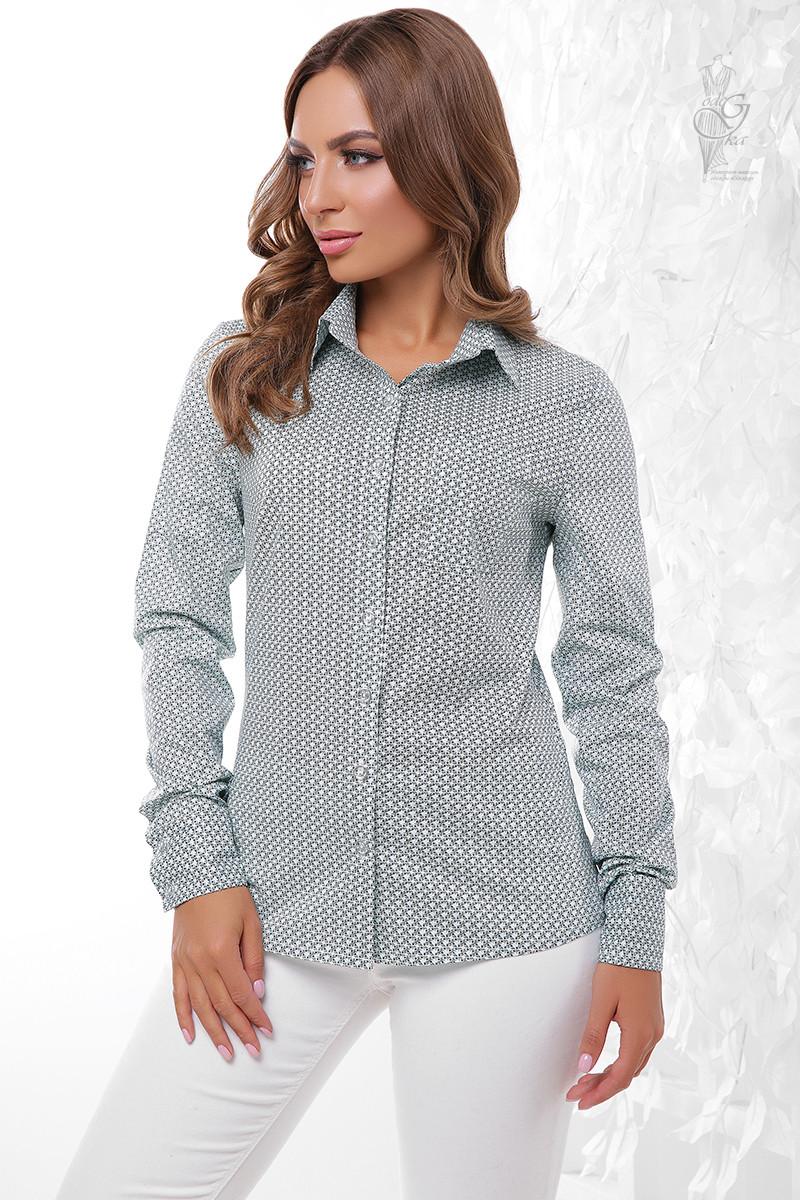 Женская приталенная блузка Ромбус-8 с длинным рукавом